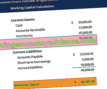 Screenshot der Working Capital-Vorlage